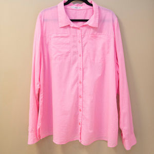 Maurices Long Sleeve Pink Button Down Top